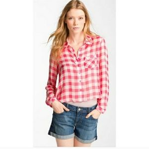 Free People plaid sheer top